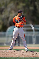 Baltimore Orioles pitcher Tobias Myers (73) looks in for the sign during a minor league Spring Training game against the Tampa Bay Rays on March 29, 2017 at the Buck O'Neil Baseball Complex in Sarasota, Florida.  (Mike Janes/Four Seam Images)