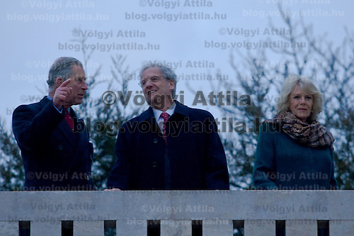 Hungarian president Laszlo Solyom (C) meets Britain's Prince Charles (L) and his wife Camilla, Duchess of Cornwall (R) visit Budapest, Hungary. Wednesday, 17. March 2010. ATTILA VOLGYI