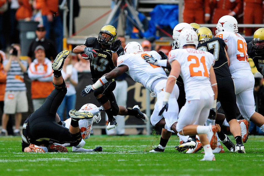 04 October 2008: Colorado tailback Rodney Stewart (43) rushes against Texas. The Texas Longhorns defeated the Colorado Buffaloes 38-14 at Folsom Field in Boulder, Colorado. For Editorial Use Only