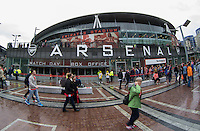 General view outside The Emirates during the Emirates Cup match between Arsenal and VfL Wolfsburg at the Emirates Stadium, London, England on 26 July 2015. Photo by Andy Rowland.