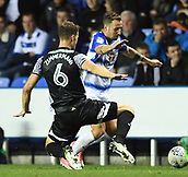 30th September 2017, Madejski Stadium, Reading, England; EFL Championship football, Reading versus Norwich City; Christoph Zimmermann of Norwich City prepares to tackle Roy Beerens of Reading