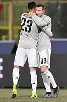 Federico Bernardeschi of Juventus celebrates with Emre Can  after scoring a goal during the Italy Cup 2018/2019 football match between Bologna and Juventus at stadio Renato Dall'Ara, Bologna, January 12, 2019 <br />  Foto Andrea Staccioli / Insidefoto