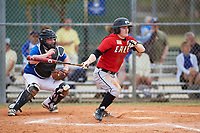 Edgewood College Eagles Danny Appino (13) at bat in front of catcher Eli Fox during a game against the Illinois College Blueboys on March 14, 2017 at Terry Park in Fort Myers, Florida.  Edgewood defeated Illinois College 11-2.  (Mike Janes/Four Seam Images)