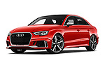 Stock pictures of low aggressive front three quarter view of 2019 Audi RS-3 - 4 Door Sedan Low Aggressive