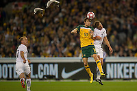 MELBOURNE, AUSTRALIA - MAY 24, 2010: Dario Vidosic of the Qantas Socceroos heads the ball at the FIFA World Cup farewell match between Australia and New Zealand at the Melbourne Cricket Ground, 24 May, 2010 in Melbourne, Australia. Photo by Sydney Low / www.syd-low.com