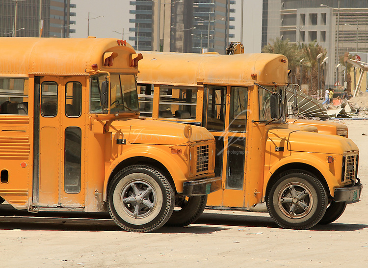Old school buses used for the construction workers, West Bay, Doha, Qatar | Mar 10