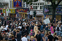 GERMANY, Hamburg, protest rally on Reeperbahn in St. Pauli against G-20 summit in july 2017 / DEUTSCHLAND, Hamburg, St. Pauli, Protest Demo auf der Reeperbahn gegen G20 Gipfel in Hamburg