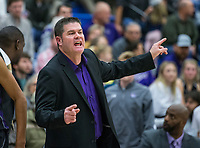 Brad Stamps, Fayetteville head coach, reacts Friday, Feb. 7, 2020, vs Rogers at King Arena in Rogers. Go to nwaonline.com/prepbball/ to see more photos.<br /> (NWA Democrat-Gazette/Ben Goff)