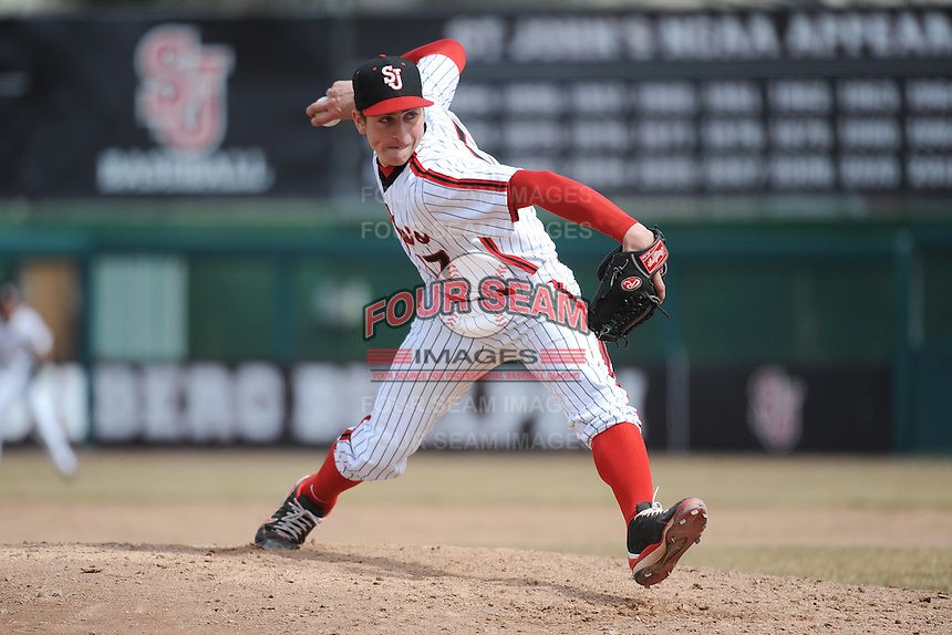 St. John's University Redstorm pitcher Thomas Hackimer (17) during game 1 of a double header against the University of Cincinnati Bearcats at Jack Kaiser Stadium on March 28, 2013 Queens, New York.  St. John's defeated Cincinnati 6-5 in game 1.                                                  (Tomasso DeRosa/ Four Seam Images)
