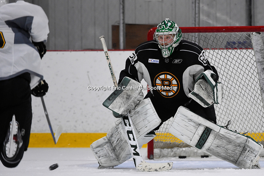 July 14, 2015 - Wilmington, Massachusetts, U.S. - Goalie Zane McIntyre (60) takes part in the Boston Bruins development camp held at Ristuccia Arena in Wilmington Massachusetts. Eric Canha/CSM