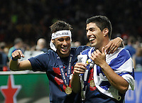 Calcio, finale di Champions League Juventus vs Barcellona all'Olympiastadion di Berlino, 6 giugno 2015.<br /> FC Barcelona's Neymar, left, and Luis Suarez celebrate at the end of the Champions League football final between Juventus Turin and FC Barcelona, at Berlin's Olympiastadion, 6 June 2015. Barcelona won 3-1.<br /> UPDATE IMAGES PRESS/Isabella Bonotto