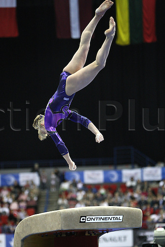 Tatiana Nabieva of Russia competes at the vault during the senior women apparatus final at the European Artistic Gymnastics Championship at National Indoor Arena in Birmingham, UK on May 2, 2010.