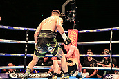 30th September 2017, Echo Arena, Liverpool, England; Matchroom Boxing, Eliminator for WBA Bantamweight World Championship; Undercard Super-Welterweight contest; Anthony Fowler versus Jay Byrne; Anthony Fowler hits Jay Byrne with a right hook and he's down and the ref stops it in the 5th