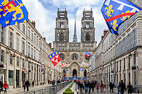 France, Loiret (45), Orléans, la rue Jeanne-d'Arc piétonne durant les fêtes de Jeanne d'Arc et la cathédrale Sainte-Croix d'Orléans // France, Loiret, Jeanne d'Arc street