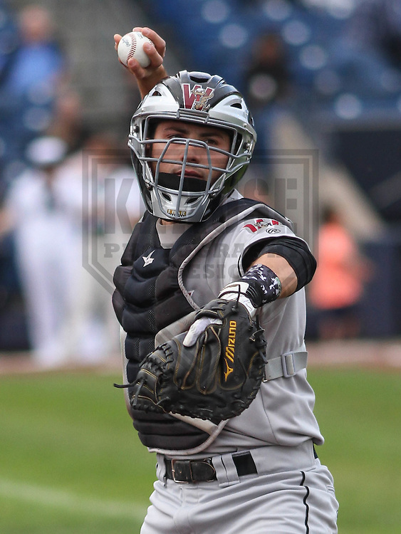 DAVENPORT - May 2015: Wisconsin Timber Rattlers catcher Carlos Leal (11) during a Midwest League game against the Quad Cities River Bandits on May 8th, 2015 at Modern Woodmen Park in Davenport, Iowa.  Quad Cities defeated Wisconsin 11-6.  (Brad Krause/Krause Sports Photography)