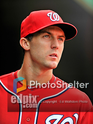 24 September 2011: Washington Nationals infielder Stephen Lombardozzi watches play against the Atlanta Braves at Nationals Park in Washington, DC. The Nationals defeated the Braves 4-1 to even up their 3-game series. Mandatory Credit: Ed Wolfstein Photo