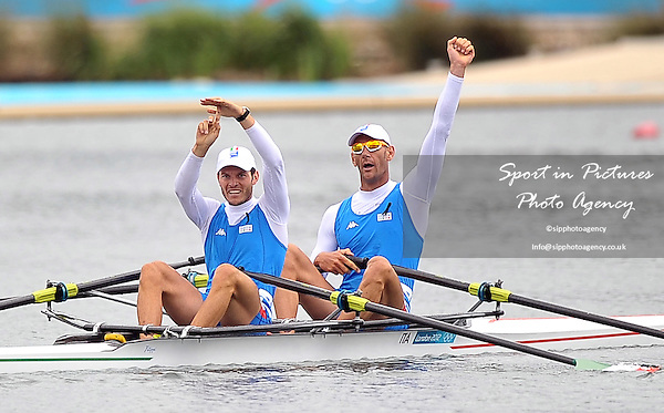 Allesio Sartori and Romano Battisti (ITA) celebrate winning silver in the Men's Double Sculls Final. Rowing - PHOTO: Mandatory by-line: Garry Bowden/SIP/Pinnacle - Photo Agency UK Tel: +44(0)1363 881025 - Mobile:0797 1270 681 - VAT Reg No: 768 6958 48 - 02/08/2012 - 2012 Olympics - Eton Dorney, Windsor, England
