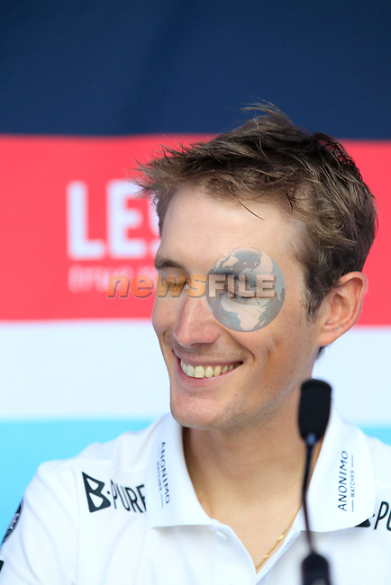 Andy Schleck (LUX) at the Radioshack Leopard Trek Team Press Conference held on the Ferry Mega Smeralda docked in Porto Vecchio, Corsica, France.<br /> 27th June 2013. <br /> (Photo:Eoin Clarke/www.newsfile.ie)