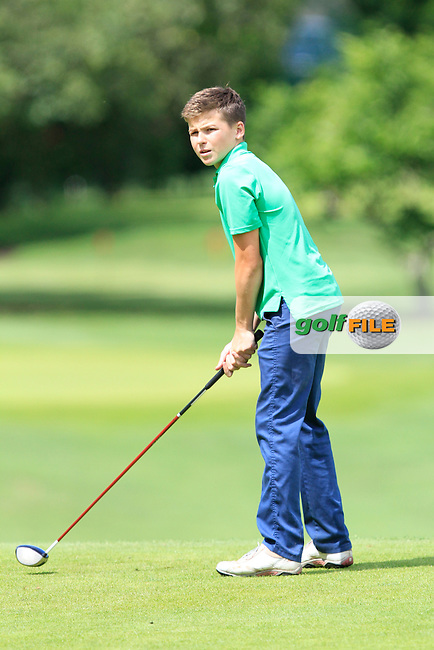 Peter O'Beirne (Milltown) on the 7th tee during Round 2 of the Grange Dublin Boys on Monday 21th July 2014.<br /> Picture:  Thos Caffrey / www.golffile.ie