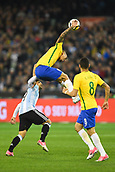 June 9th 2017, Melbourne Cricket Ground, Melbourne, Australia; International Football Friendly; Brazil versus Argentina; Gabriel Jesus of Brazil jumps for the ball