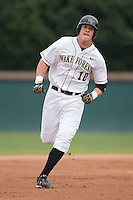 First baseman Allan Dykstra (10) of the Wake Forest Demon Deacons rounds the bases following his solo home run versus the Florida State Seminoles at Gene Hooks Stadium on the campus of Wake Forest University in Winston-Salem, NC, Friday, March 28, 2008.