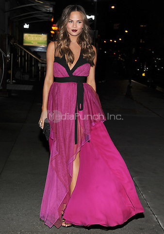New York, NY- October 23:Christine Teigen spotted on Wall Street attending the 31st annual FGI Night Of Stars event at Cipriani Wall Street on October 23, 2014 in New York City. Credit: John Palmer/MediaPunch
