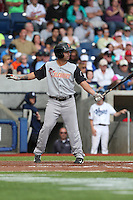 C.J. Hinojosa (1) of the Salem-Keizer Volcanoes bats during a game against the Hillsboro Hops at Ron Tonkin Field on July 26, 2015 in Hillsboro, Oregon. Hillsboro defeated Salem-Keizer, 4-3. (Larry Goren/Four Seam Images)