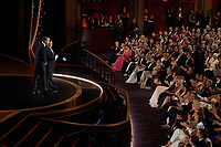 Shia LaBeouf and Zack Gottsagen present the Oscar® for Live Action Short Film during the live ABC Telecast of The 92nd Oscars® at the Dolby® Theatre in Hollywood, CA on Sunday, February 9, 2020.<br /> *Editorial Use Only*<br /> CAP/AMPAS<br /> Supplied by Capital Pictures