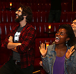 Josh Groban and Denee Benton during the Broadway Opening Night Actors' Equity Gypsy Robe Ceremony honoring Katrina Yaukey  for  'Natasha, Pierre & The Great Comet Of 1812' at The Imperial Theatre on November 14, 2016 in New York City.
