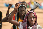 Girls sing a song as they participate in an activity sponsored by Jesuit Refugee Service in the Doro Refugee Camp in Maban, South Sudan. The camp is one of four in Maban that together shelter more than 130,000 refugees from the Blue Nile region of Sudan. <br /> <br /> Misean Cara supports the work of JRS in the Maban camps.