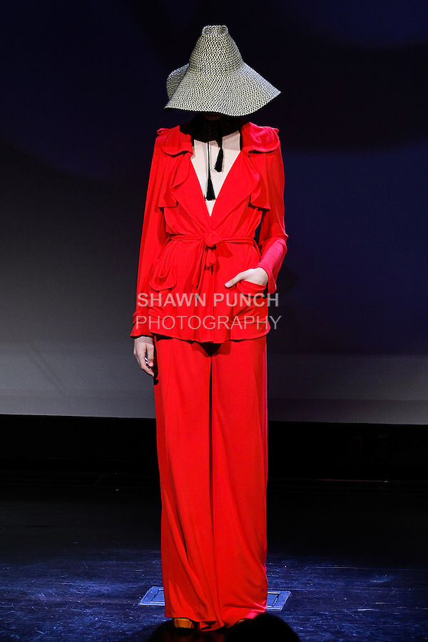 "Emma poses in an outfit from the Douglas Hannant Spring 2013 ""A Daydream"" collection, at the New York Historical Society, during New York Fashion Week Spring 2013."