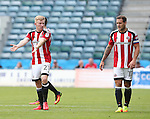 Sheffield United's Mark Duffy talks to Billy Sharp during the League One match at the Priestfield Stadium, Gillingham. Picture date: September 4th, 2016. Pic David Klein/Sportimage