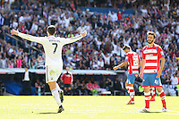 Real Madrid´s Portuguese forward Cristiano Ronaldo celebrating after scoring