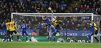 Leicester City's Kasper Schmeichel punches clear from Watford's Etienne Capoue <br /> <br /> Photographer Stephen White/CameraSport<br /> <br /> The Premier League - Leicester City v Watford - Saturday 1st December 2018 - King Power Stadium - Leicester<br /> <br /> World Copyright © 2018 CameraSport. All rights reserved. 43 Linden Ave. Countesthorpe. Leicester. England. LE8 5PG - Tel: +44 (0) 116 277 4147 - admin@camerasport.com - www.camerasport.com