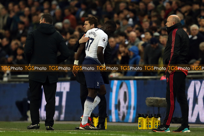 Moussa Sissoko of Tottenham Hotspur is substituted during Tottenham Hotspur vs Manchester United, Premier League Football at Wembley Stadium on 13th January 2019