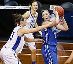 SIOUX FALLS MARCH 23:  Jen Gemma #33 of Bentley shield the ball from Lubbock Christian defender Kellyn Schneider #13 during their 2016 NCAA Women's DII Elite 8 Basketball Championship semifinal game Wednesday night at the Sanford Pentagon in Sioux Falls, S.D. (Photo by Dick Carlson/Inertia)