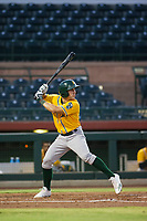AZL Athletics left fielder Adrian Spitz (4) bats during a game against the AZL Giants on August 5, 2017 at Scottsdale Stadium in Scottsdale, Arizona. AZL Athletics defeated the AZL Giants 2-1. (Zachary Lucy/Four Seam Images)
