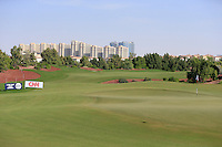 View down the 8th fairway during the preview for the DP World Tour Championship at the Earth course,  Jumeirah Golf Estates in Dubai, UAE,  18/11/2015.<br /> Picture: Golffile | Thos Caffrey<br /> <br /> All photo usage must carry mandatory copyright credit (© Golffile | Thos Caffrey)