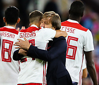Olympiakos manager Pedro Martins celebrates with Konstantinos Tsimikas after the final whistle <br /> <br /> Photographer Alex Dodd/CameraSport<br /> <br /> UEFA Europa League - UEFA Europa League Qualifying Second Leg 2 - Burnley v Olympiakos - Thursday August 30th 2018 - Turf Moor - Burnley<br />  <br /> World Copyright © 2018 CameraSport. All rights reserved. 43 Linden Ave. Countesthorpe. Leicester. England. LE8 5PG - Tel: +44 (0) 116 277 4147 - admin@camerasport.com - www.camerasport.com
