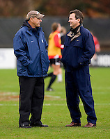 Anson Dorrance, Bill Palladino. UNC defeated Maryland, 1-0, during the regular season finale at College Park, Maryland.