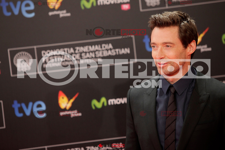 "Australian actor Hugh Jackman posses in the photocall for the presentation of the ""Prisioners"" film and before receiving the Donostia Award during the 61st San Sebastian Film Festival in the Northern Spanish Basque city of San Sebastian on September 27, 2013. (ALTERPHOTOS/Victor Blanco) /NortePhoto"