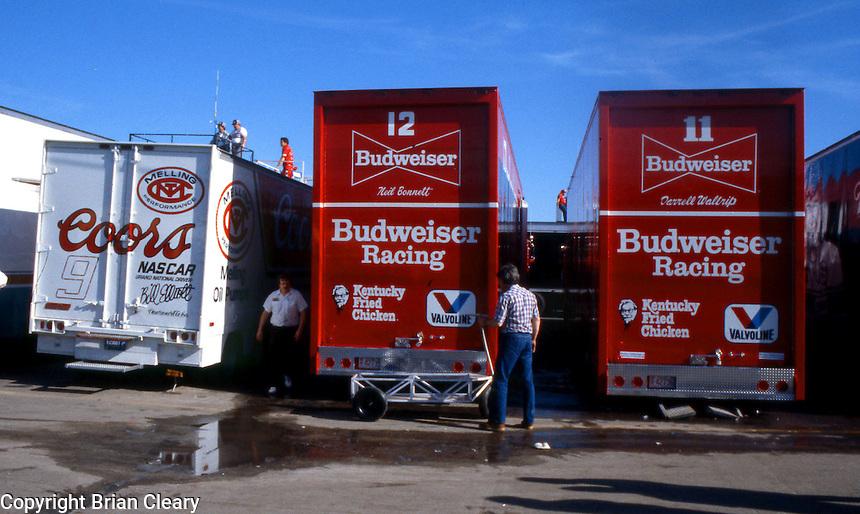 race car transporters haulers garage Daytona 500 at Daytona International Speedway in Daytona Beach, FL on February  1984. (Photo by Brian Cleary/www.bcpix.com)