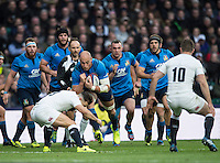 Twickenham, United Kingdom.   Sergio PARISSE, facing a low challenge from, Danny CARE, during the Six nations Rugby International, England vs Italy at the   RFU Stadium, Twickenham, England, <br /> <br /> Sunday  26/02/2017<br /> <br /> [Mandatory Credit; Peter Spurrier/Intersport-images]