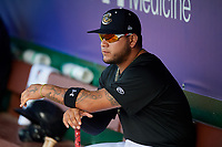 Kane County Cougars Jose Herrera (10) in the dugout before a game against the South Bend Cubs on July 21, 2018 at Northwestern Medicine Field in Geneva, Illinois.  South Bend defeated Kane County 4-2.  (Mike Janes/Four Seam Images)