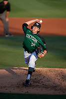 Stetson Hatters starting pitcher Logan Gilbert (30) delivers a pitch during a game against the Lipscomb Bisons on April 13, 2018 at Melching Field at Conrad Park in DeLand, Florida.  Stetson defeated Lipscomb 3-2 in ten innings.  (Mike Janes/Four Seam Images)