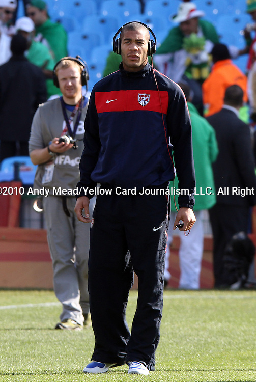 23 JUN 2010:  Oguchi Onyewu (USA) prior to the match.  The United States National Team played the Algeria National Team at Loftus Versfeld Stadium in Tshwane/Pretoria, South Africa in a 2010 FIFA World Cup Group C match.