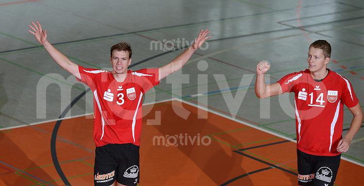 Volleyball 1. Bundesliga  Saison  2012/2013  05.09.2012 TV Rottenburg  - SV Fellbach Michael Neumeister (li, TV Rottenburg) und Rene Bahlburg (TV Rottenburg)