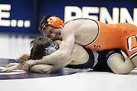 STATE COLLEGE, PA - FEBRUARY 16: Jon Morrison of the Oklahoma State Cowboys during a 133 pound match against Jimmy Gullibon of the Penn State Nittany Lions on February 16, 2014 at Rec Hall on the campus of Penn State University in State College, Pennsylvania. Penn State won 23-12. (Photo by Hunter Martin/Getty Images) *** Local Caption *** Jimmy Gullibon;Jon Morrison