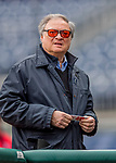 3 April 2017: Miami Marlins Owner and CEO Jeffrey Loria watches pre-game activities prior to the Opening Day game against the Washington Nationals at Nationals Park in Washington, DC. The Nationals defeated the Marlins 4-2 to open the 2017 MLB Season. Mandatory Credit: Ed Wolfstein Photo *** RAW (NEF) Image File Available ***