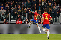 Spain Vitolo, left, celebrates after scoring during the Fifa World Cup 2018 qualification soccer match between Italy and Spain at Turin's Juventus Stadium, October 6, 2016. The game ended 1-1.<br /> UPDATE IMAGES PRESS/Isabella Bonotto